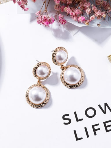 Alloy With Gold Plated Fashion Round  Imitation Pearl Earrings