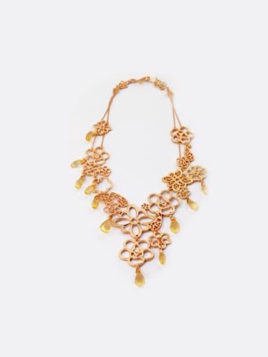 Exquisite Hollow Flower Alloy Necklace