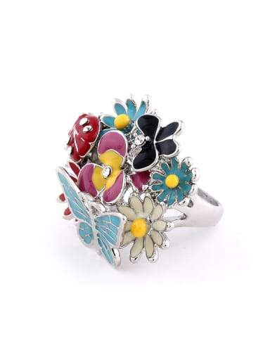 Exaggerated Colorful Flowers Rhinestones Alloy Ring