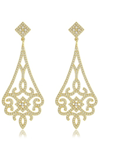 Copper With 18k Gold Plated Vintage Geometric Party Drop Earrings