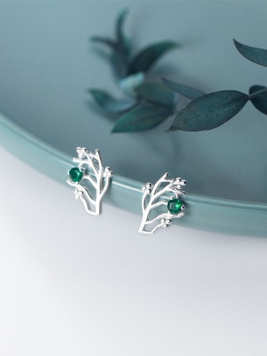 925 Sterling Silver With Silver Plated Simplistic Branch Stud Earrings