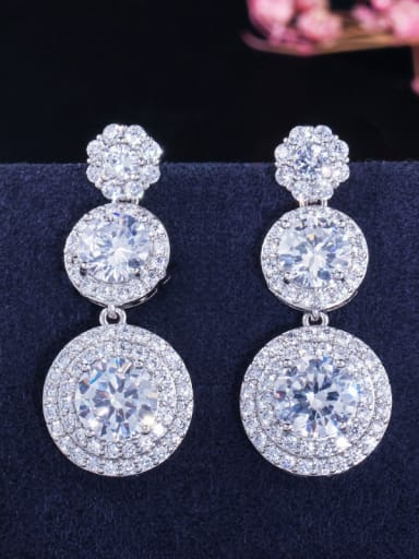 Copper With White  Cubic Zirconia  Exaggerated Round Wedding Cluster Earrings