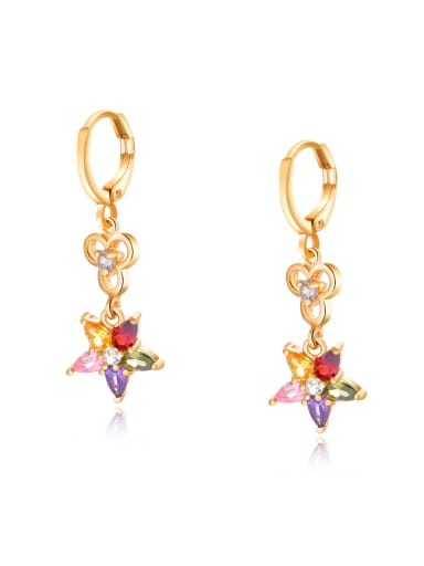 Copper With 18k Gold Plated Fashion Flower Earrings