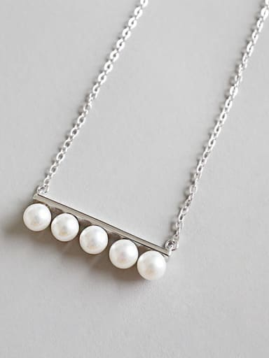 Sterling silver handmade simple beaded necklace