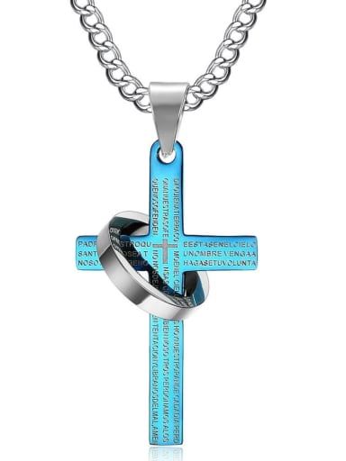 Punk style Cross Pendant Titanium Men Necklace