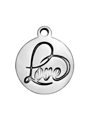 Stainless Steel With Classic Round With love Charms