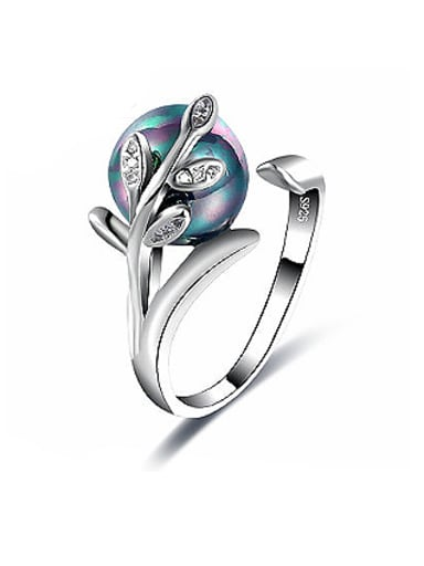 Tree Vine Shaped Colorful Glass Open Design Ring