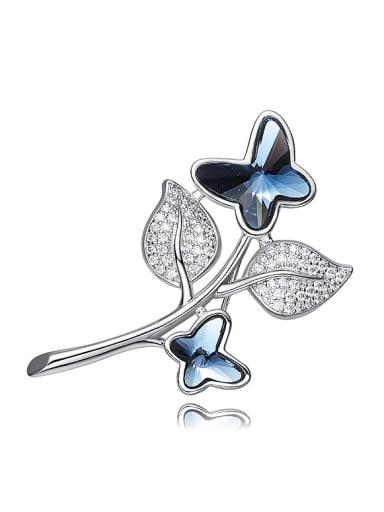Elegant Butterflies Leaves Swarovski Crystals Brooch