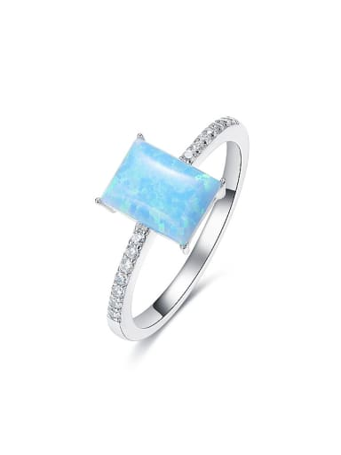 Simple Rectangular Opal stone 925 Silver Ring