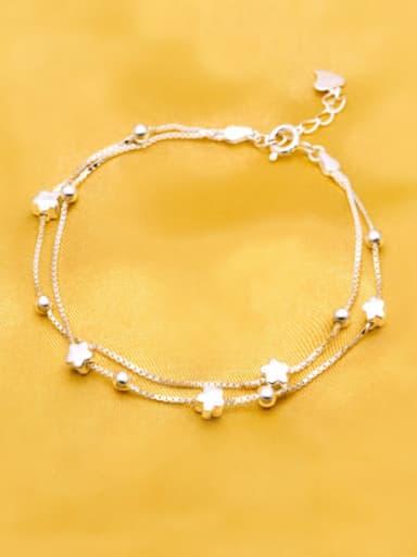 S925 silver fashion flower double layer bracelet