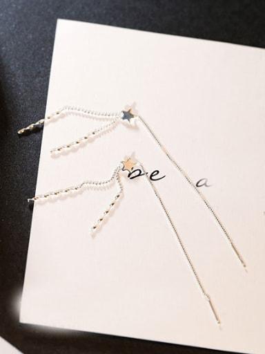 Tiny Star Wave Line Drop Earrings
