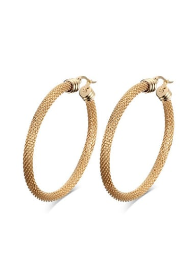Exaggerated  Rose Gold Plated Geometric Titanium Drop Earrings