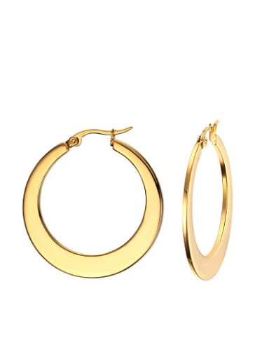 Personality High Polished Gold Plated Titanium Drop Earrings