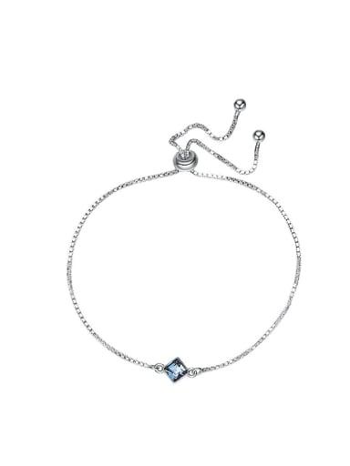 Simple Square Swarovski Crystal Silver Bracelet