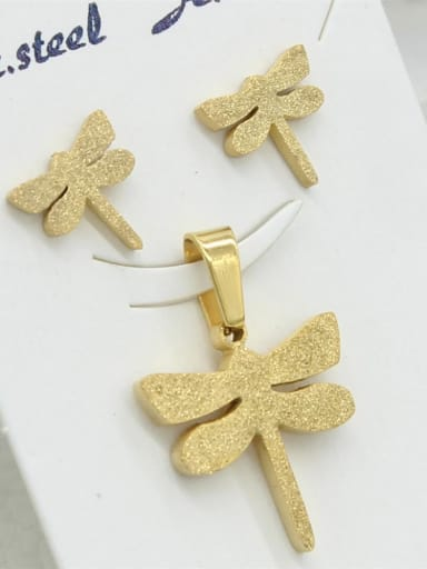 Gold Plated Dragonfly Fashion Set