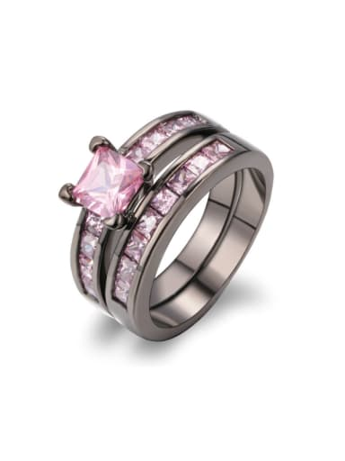 Double Layer Pink Zircons Black Plated Ring