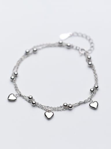 All-match Heart Shaped S925 Silver Women Bracelet