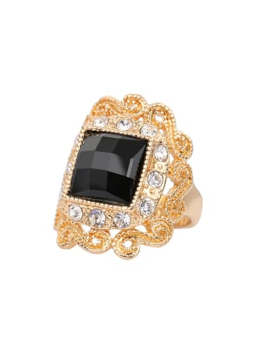Gold Plated Retro Noble style Black Resin stone Alloy Ring