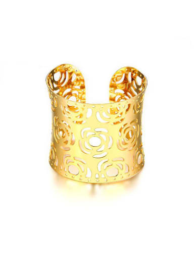 Luxury Gold Plated Hollow Flower Shaped Bangle
