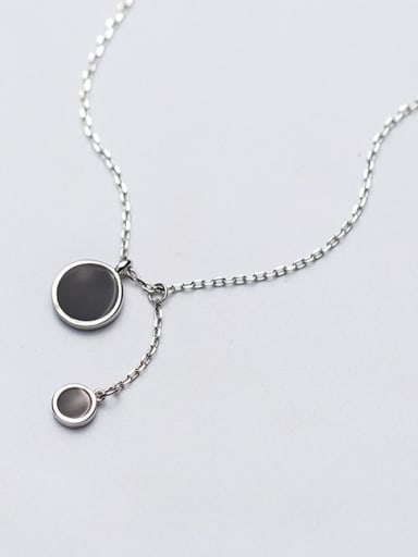 Sterling Silver Black drop oil round circular pendant necklace