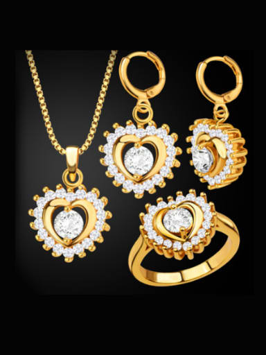 18K Heart shaped Zircon Three Pieces Jewelry Set
