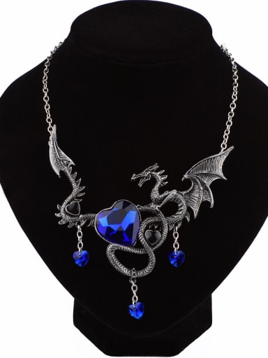 Exaggerated Personalized Dragon Heart Stones Alloy Necklace