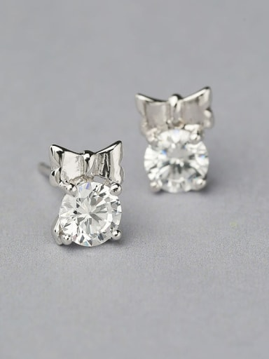 Simple Bowknot Zircon Stud Earrings