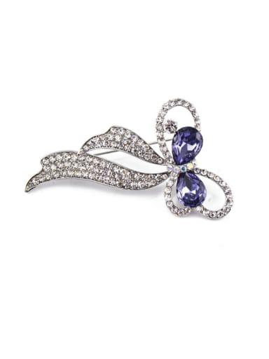 Blue Crystals Flower-shaped Brooch