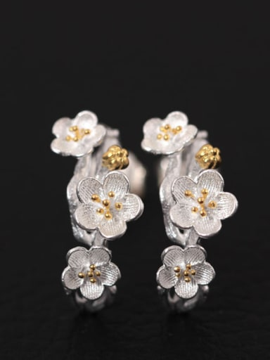 Flower Silver Fashion Women stud Earring