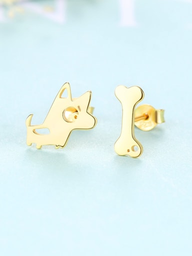 925 Sterling Silver Cartoon Dog bone Stud Earrings