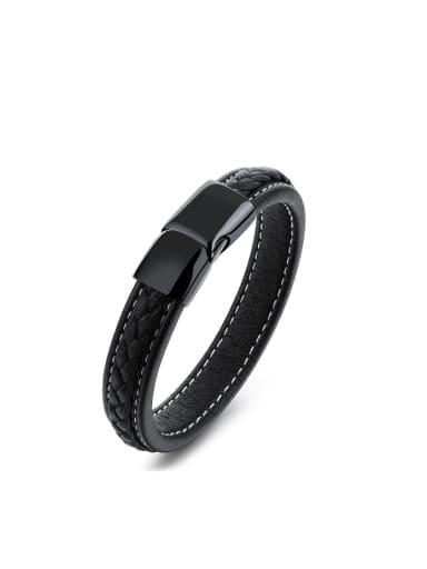 Simple Black Artificial Leather Titanium Bracelet