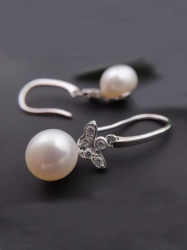Fashion Butterfly Freshwater Pearl drop earring
