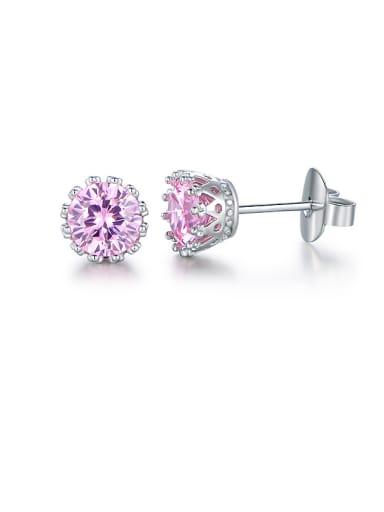 Pink Crown Zircon stud Earring