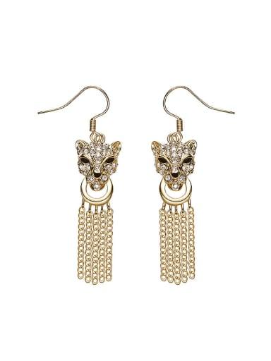Personalized Tassels Leopard Head Earrings