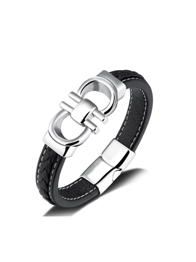 Fashion Titanium Artificial Leather Bracelet