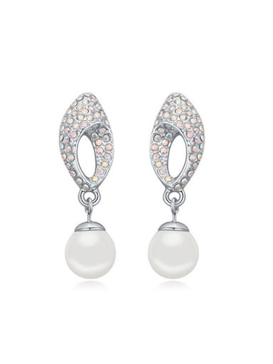Exquisite Imitation Pearls Shiny Tiny Crystals Alloy Stud Earrings
