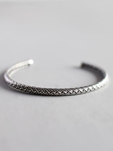 Sterling silver minimalist style woven pattern creative open bracelet