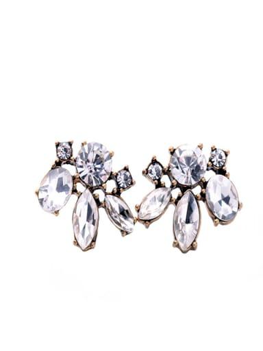 Alloy Sweet Flower-Shaped Glass Stones Stud Cluster earring