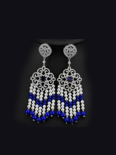 Natural Pearls Tassel Drop Chandelier earring