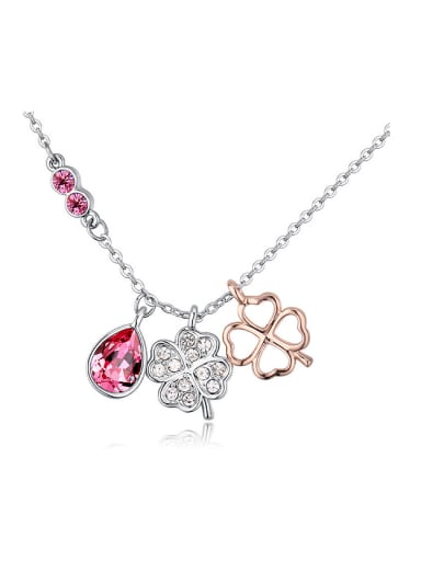 Fashion Three Swarovski Crystals Pendants Four-leaf Clover Alloy Necklace