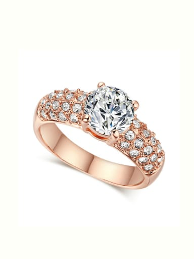 Luxury Noble Design Plating Ring with Zircons