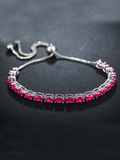Adjustable Red Zircon Bracelet