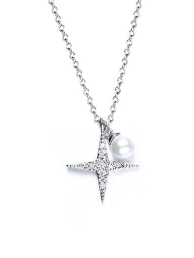 Simple Shiny Star Imitation Pearl Necklace