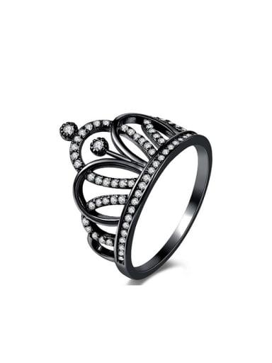 Luxury Black Gun Plated Crown Shaped Glass Bead Ring
