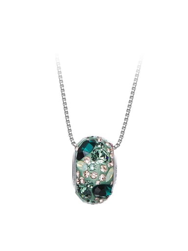 Simple Oblate Bead Swarovski Crystals Silver Necklace