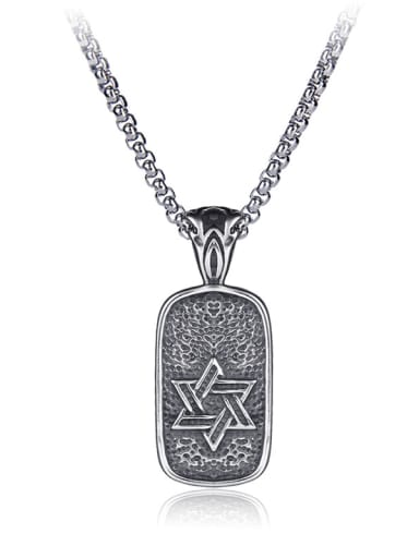 Stainless Steel With Antique Silver Plated Trendy Star of david Necklaces