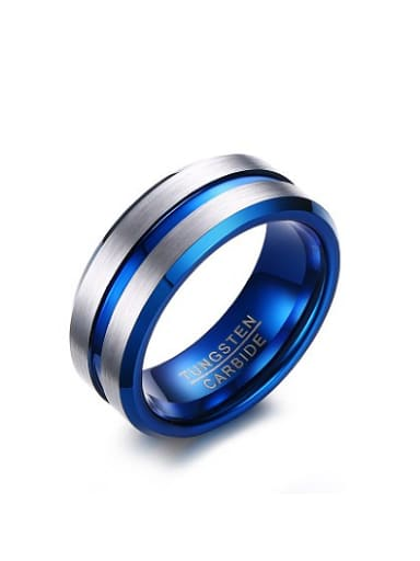 Fashionable Blue Geometric Shaped Stainless Steel Men Ring