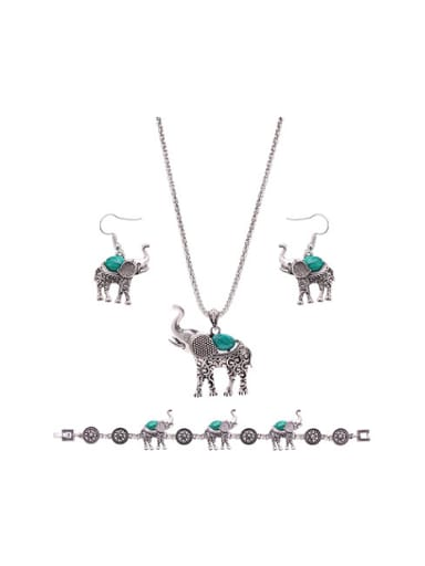 Alloy Antique Silver Plated Vintage style Artificial Stones Elephant Three Pieces Jewelry Set