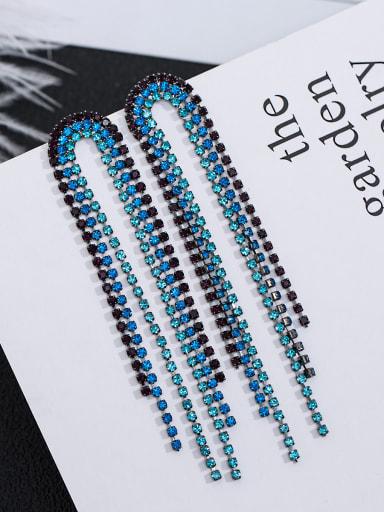 Copper inlaid color AAA zircon Tassel Earrings
