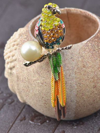 Personalized Colorful Rhinestones Parrot Artificial Pearl Alloy Brooch